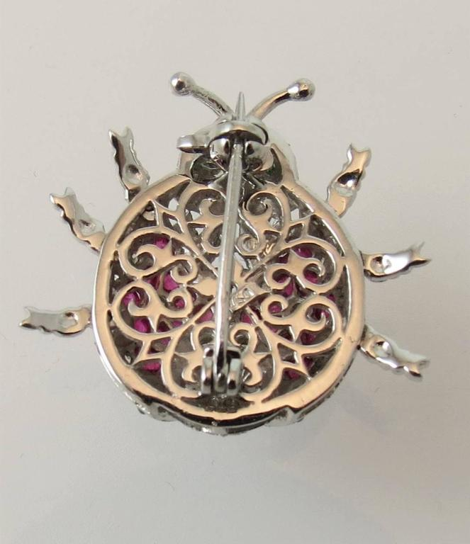 Fabulous Emerald Ruby Diamond Gold Beetle Pin In Excellent Condition For Sale In Chicago, IL