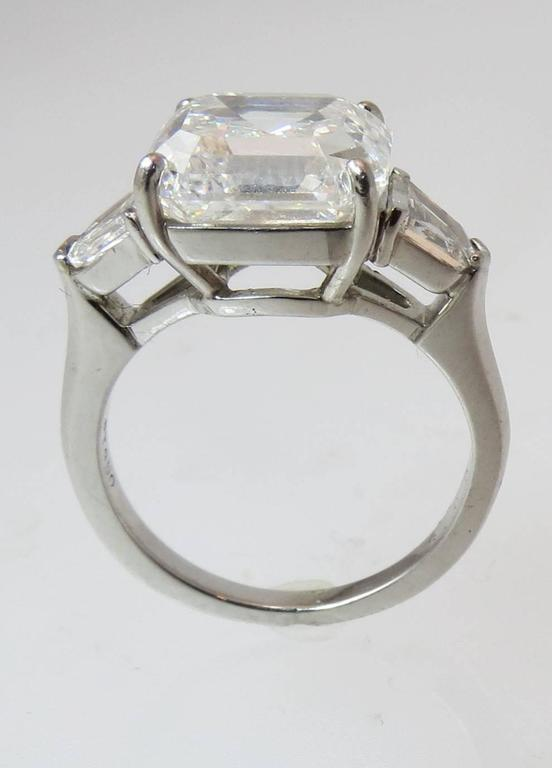 ... 3 Stone Platinum Ring. Contemporary 5.01 Carat GIA Cert Square Emerald  Cut Diamond 8c41bf52a