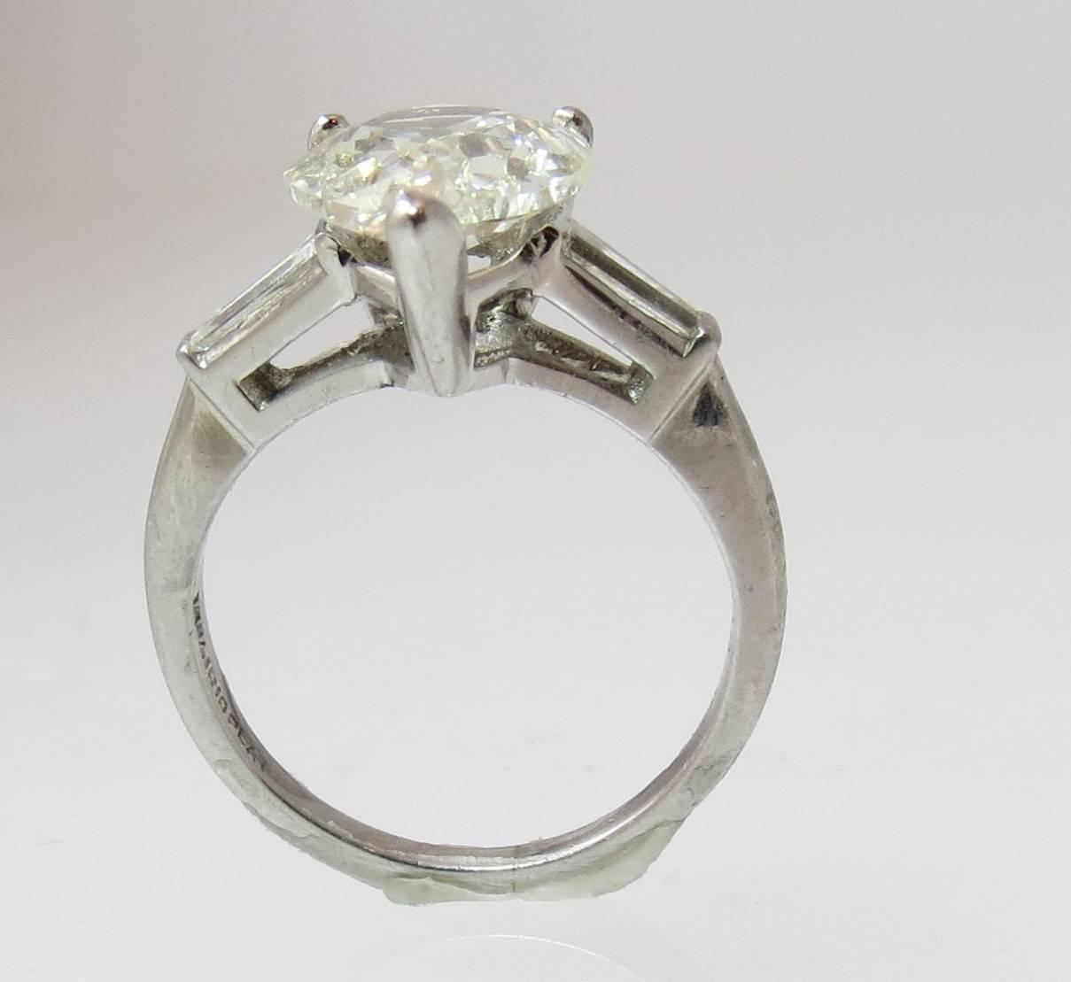 Classic 2 76ct Pear Shape Diamond With Tapered Baguettes