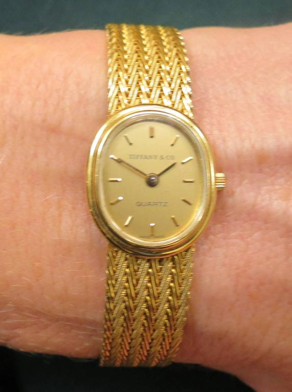 Tiffany And Co Yellow Gold Ladies Oval Bracelet Watch