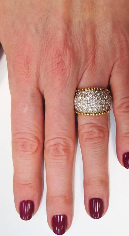 18k Yellow And White Gold Diamond Pave Band Ring With Beaded Edge At