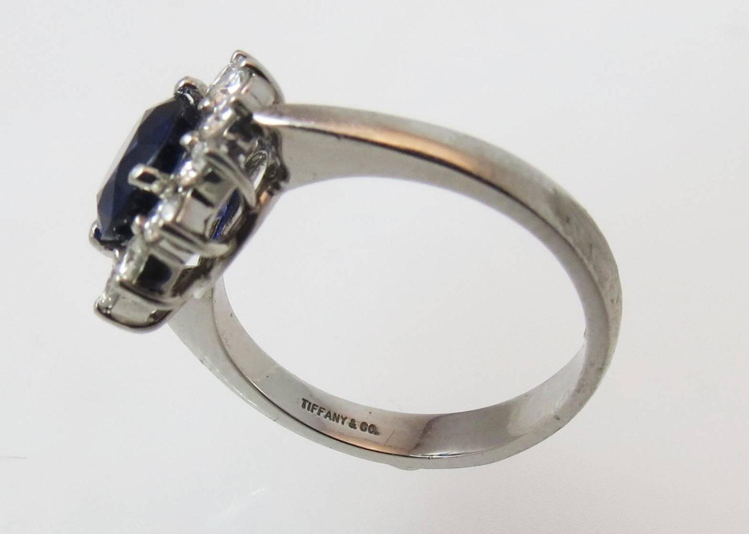 Tiffany La s Oval Blue Sapphire Diamond Platinum Ring For Sale at 1stdibs