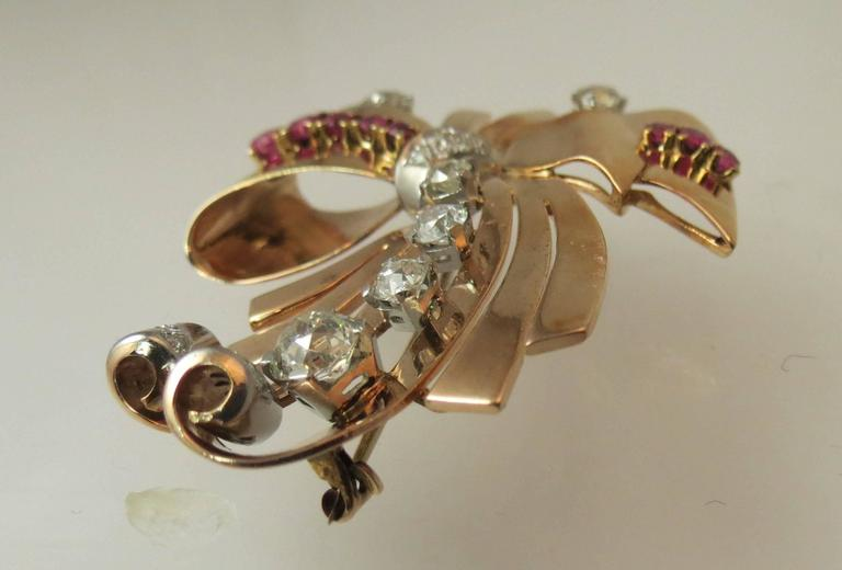 Fabulous Retro Ruby Diamond Rose Gold Pin In Excellent Condition For Sale In Chicago, IL