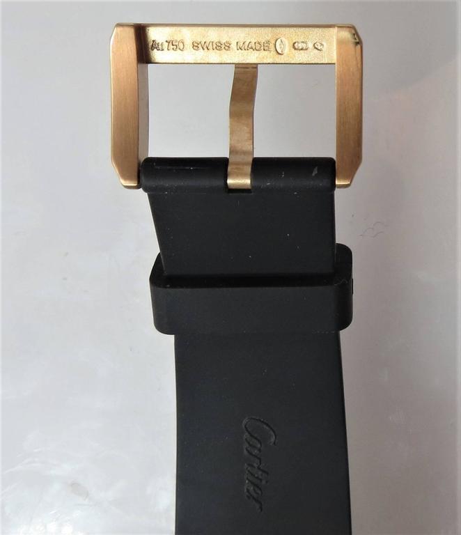 Contemporary Cartier Rose Gold Calibre Diver Date black dial automatic Wristwatch For Sale