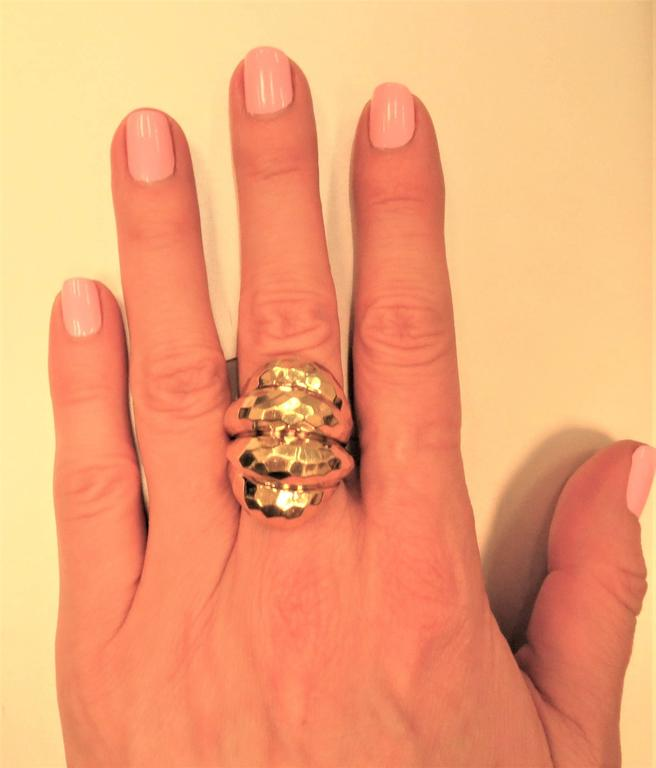 Henry Dunay 18K yellow gold, faceted texture ring, timeless and very fashionable.  Finger size 6.5. May be sized
