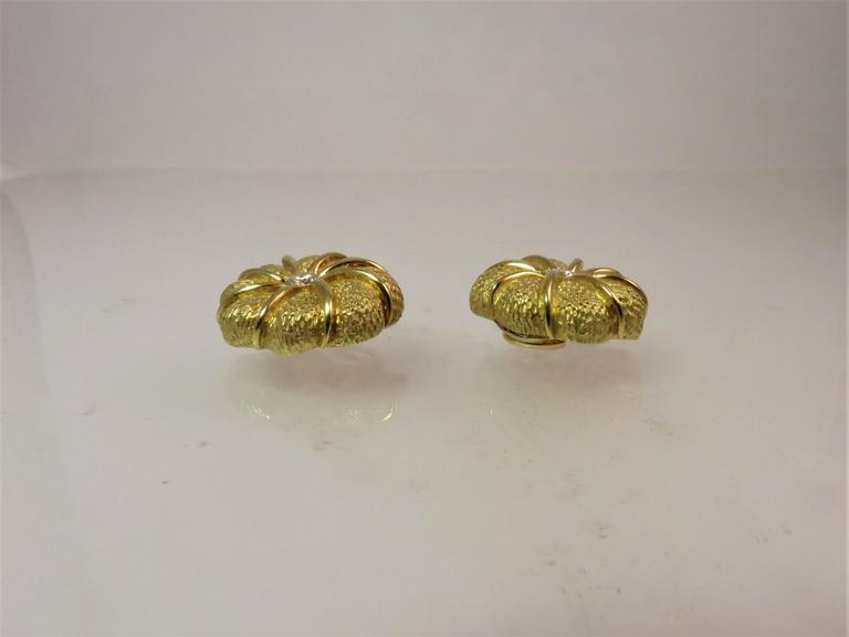 Contemporary Tiffany & Co. Diamond Yellow Gold Flower Ear Clips For Sale