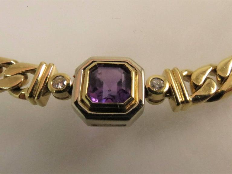 18 Karat Yellow Gold Multi-Color Semi Precious Color Stone and Diamond Necklace In Excellent Condition For Sale In Chicago, IL