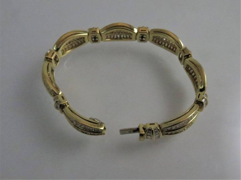 Baguette Cut Picchiotti 18 Karat Yellow Gold Baguette Diamond Bracelet For Sale