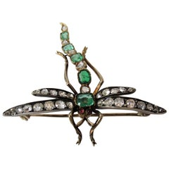 Emerald and Diamond Dragon Fly Pin