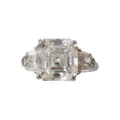 "5.01 Carat GIA Certified Emerald Cut Diamond ""Asscher"" Three-Stone Platinum Ring"