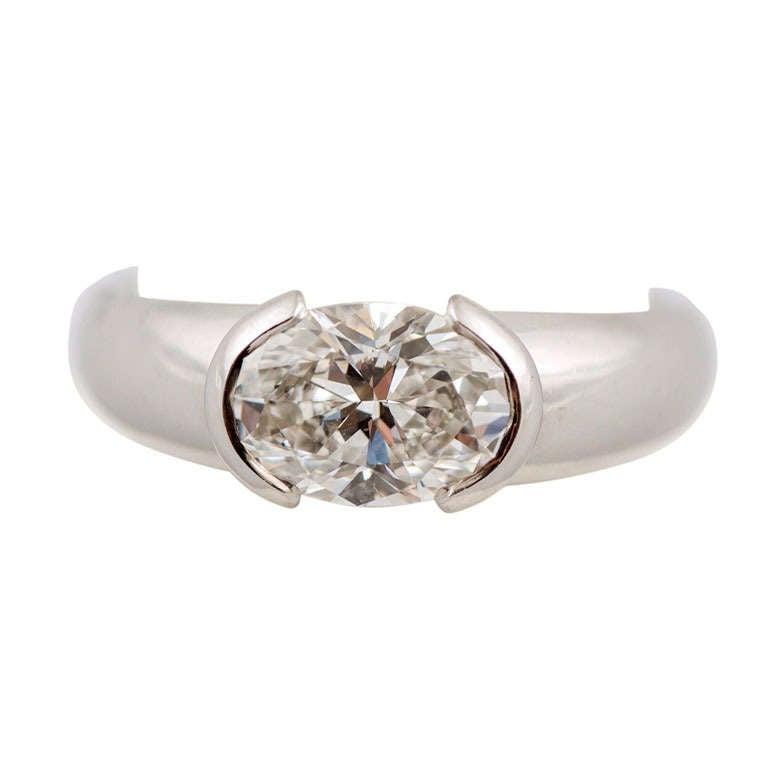 Oval Diamond Weighing 1.50 Carat, F Color, VVSI Clarity, GIA, Bondanza Mounting