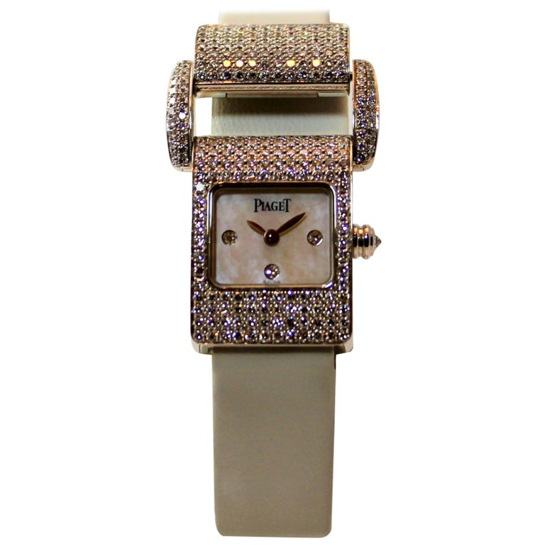 Piaget Ladies White Gold Diamond Ms. Protocol Quartz Wristwatch For Sale