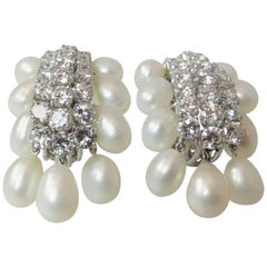 Stunning David Webb Platinum and Diamond Biwi Cultured Pearl Earrings
