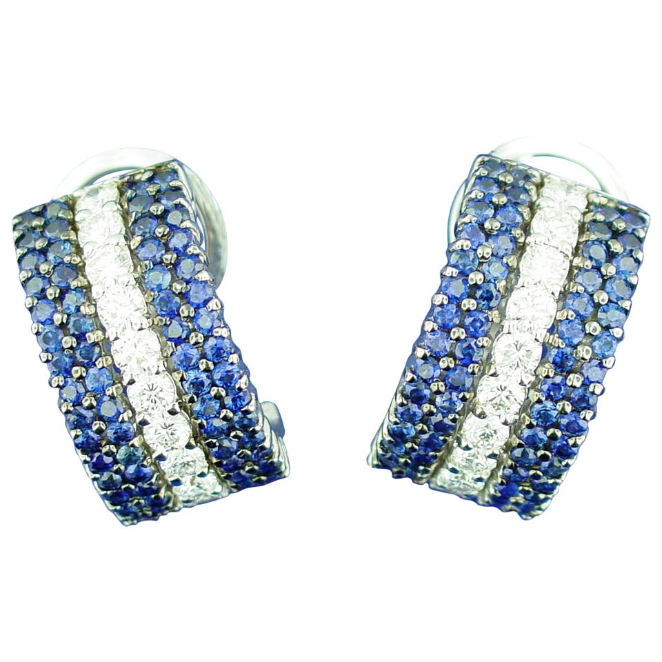 Sapphire Diamond Gold Half Hoop Earrings 1
