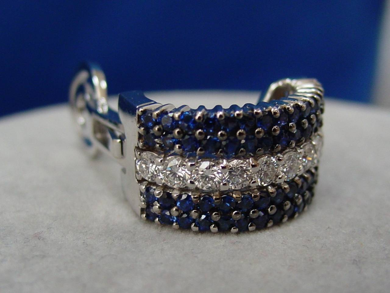 Sapphire Diamond Gold Half Hoop Earrings 3