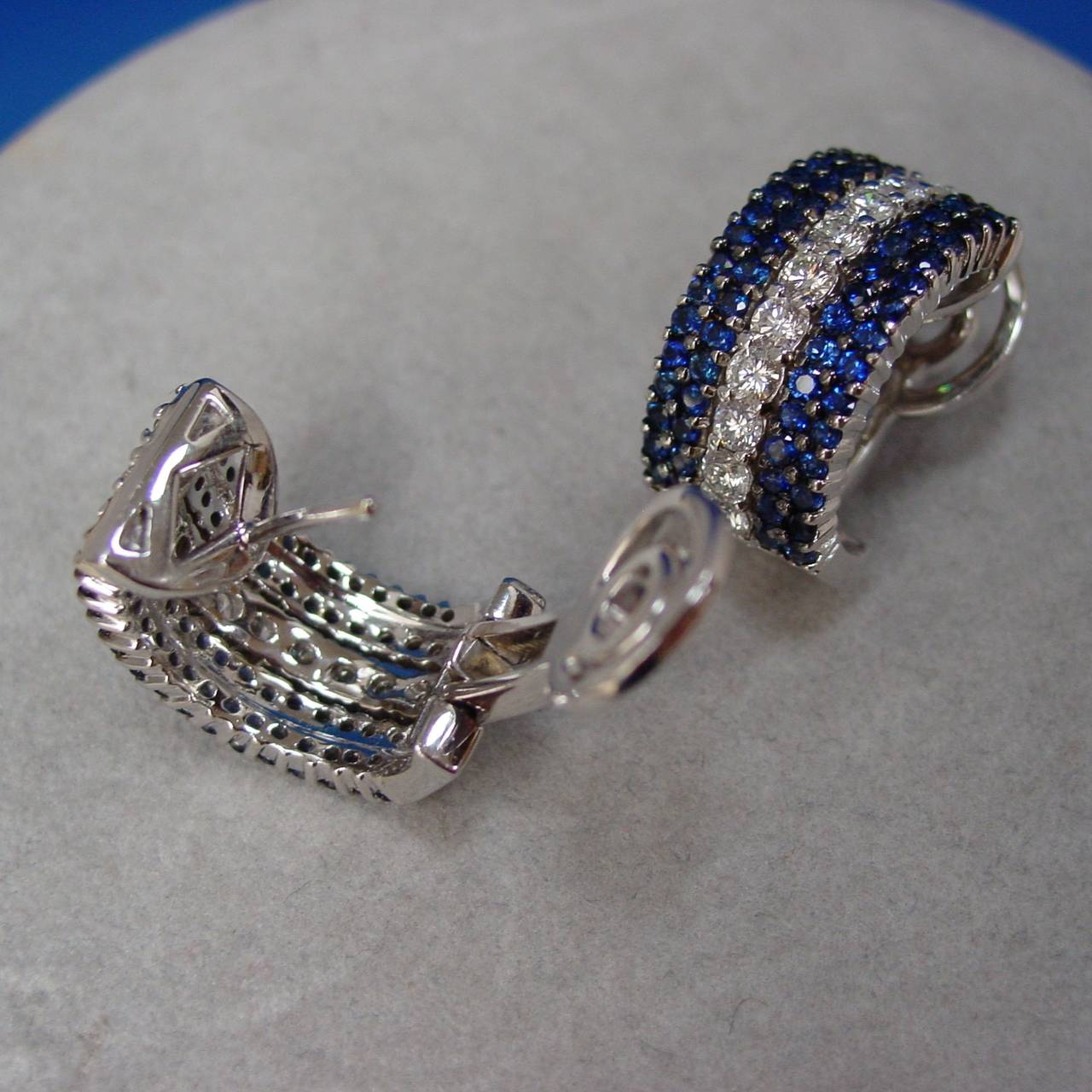 Sapphire Diamond Gold Half Hoop Earrings 2