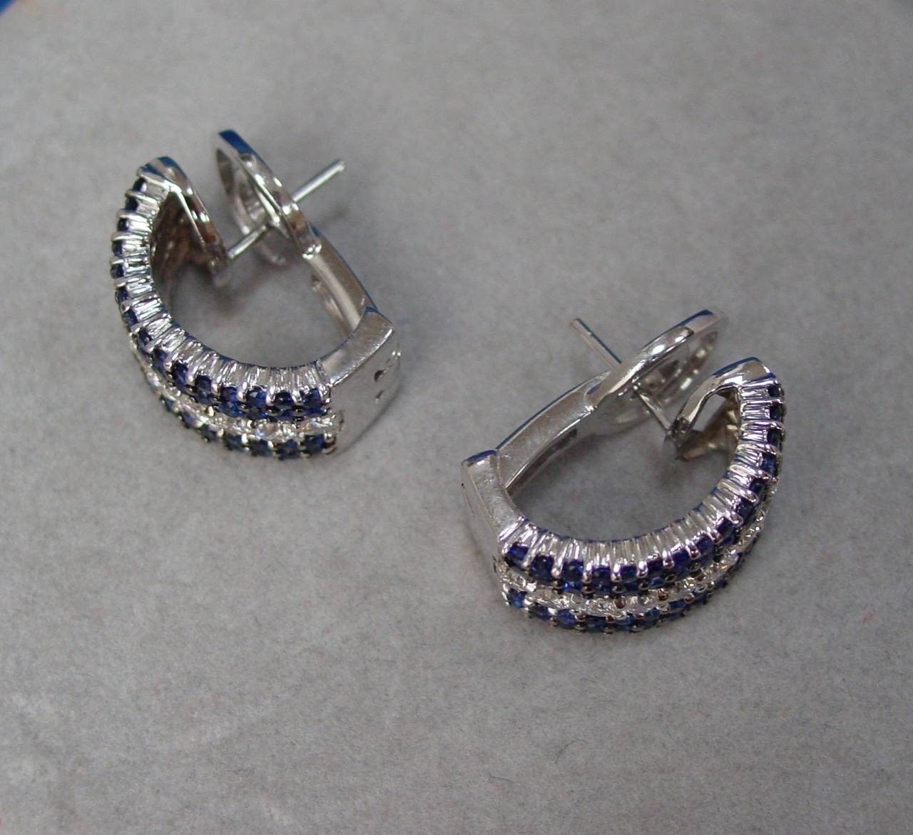 Sapphire Diamond Gold Half Hoop Earrings 5