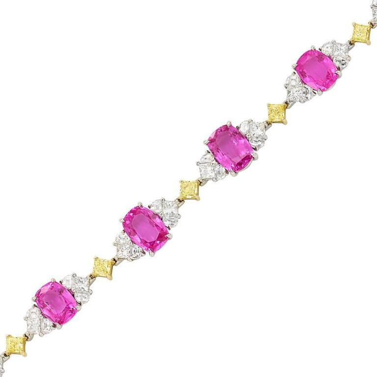 Pink Sapphire Diamond Gold Platinum Bracelet  1