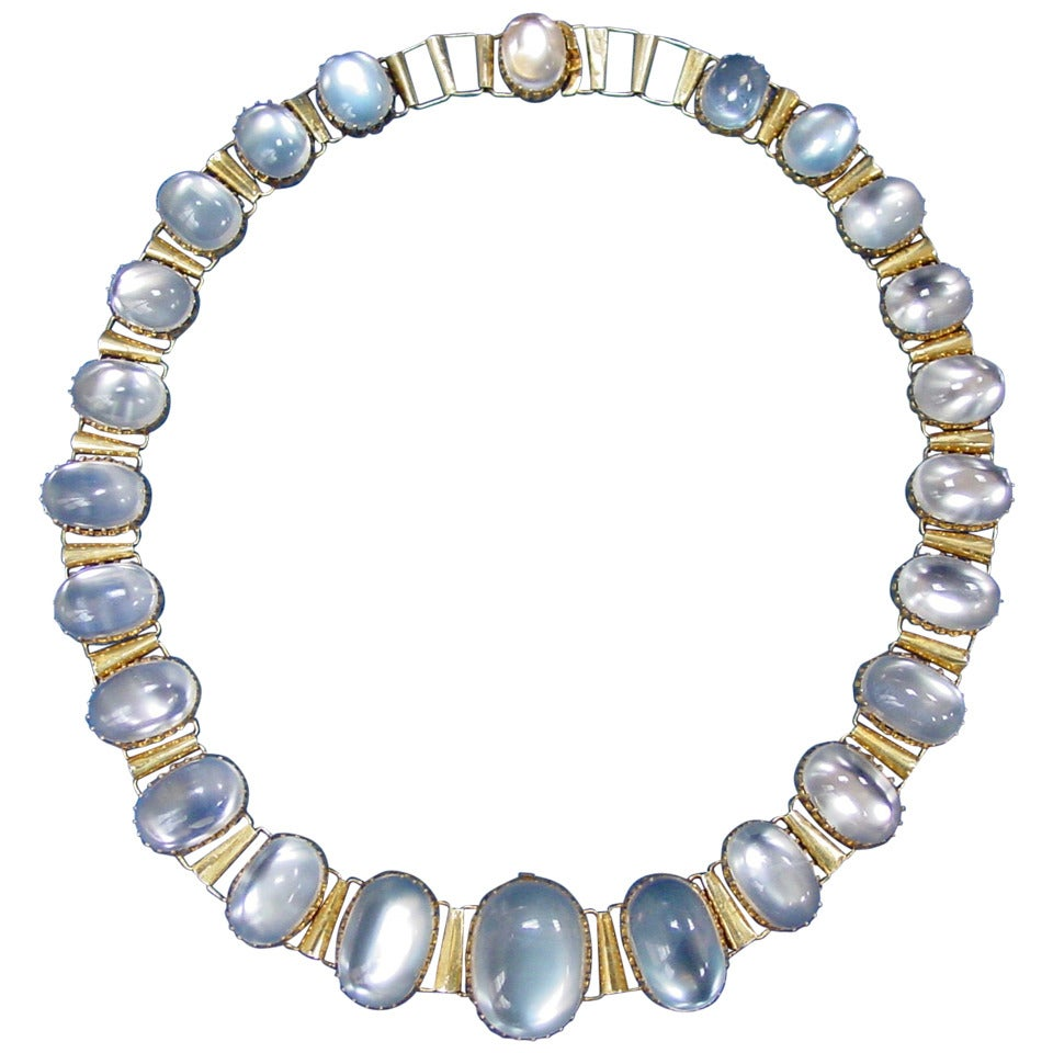 Moonstone Necklaces: Antique Graduated Moonstone Necklace At 1stdibs