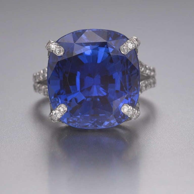 A Cushion Cut Sapphire and Diamond Ring 2