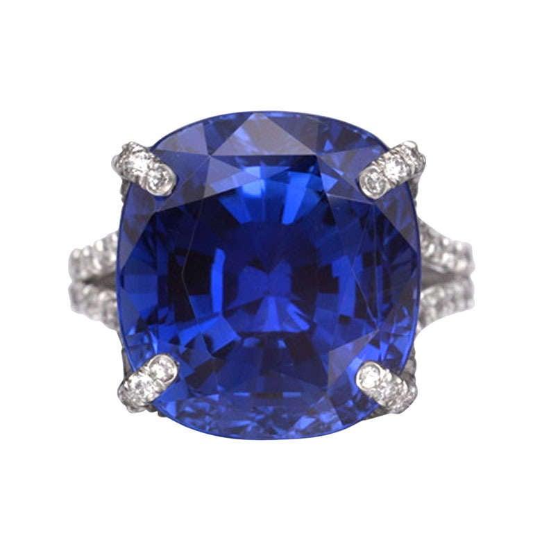 A Cushion Cut Sapphire and Diamond Ring 1