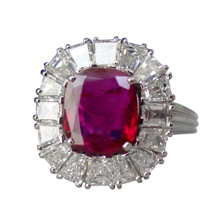 Custom Burma Ruby Ring: Burma Ruby, Diamond And Platinum Ring For Sale At 1stdibs