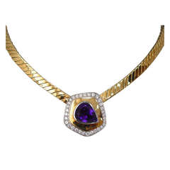 Tiffany & Co. Paloma Picasso Amethyst Diamond and Gold Necklace