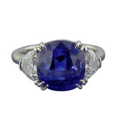 Burma Sapphire and Diamond Ring