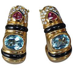 Marina B Gemstone Diamond Gold Earrings