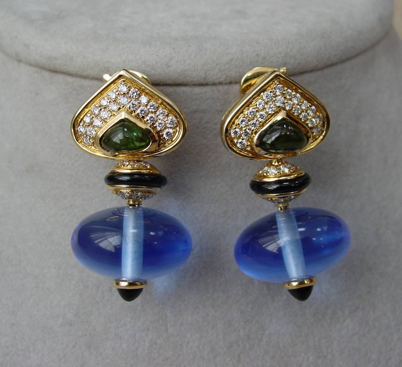 Marina B 'Pneu' Gemstone and Diamond Drop Earrings 3