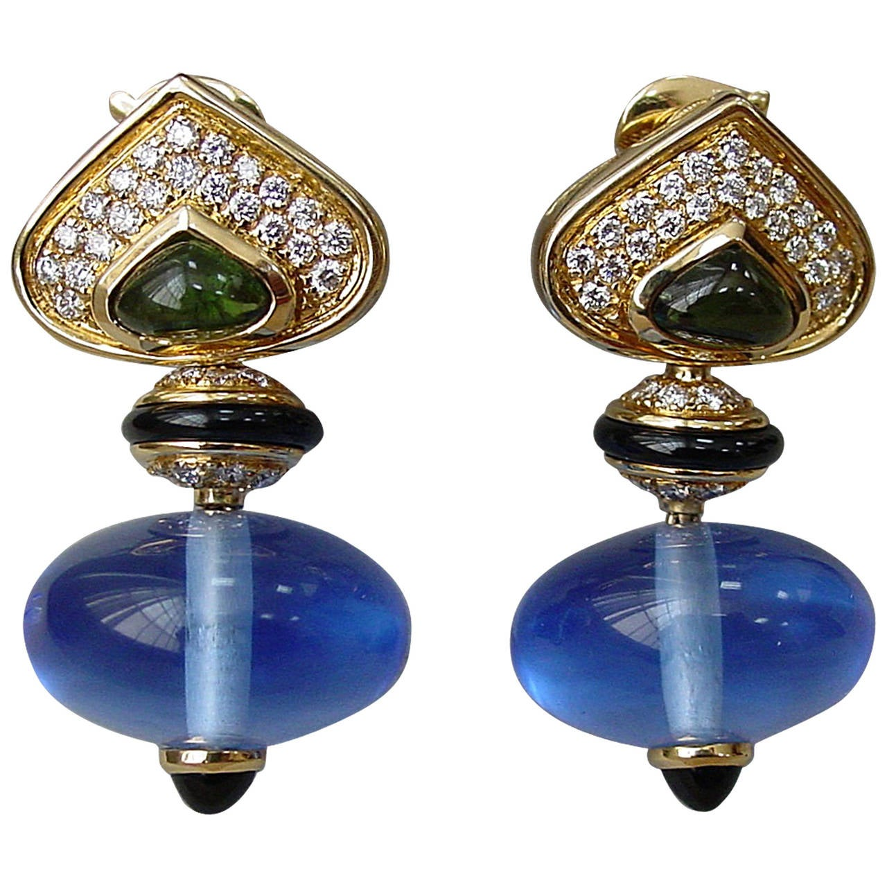 Marina B 'Pneu' Gemstone and Diamond Drop Earrings 1