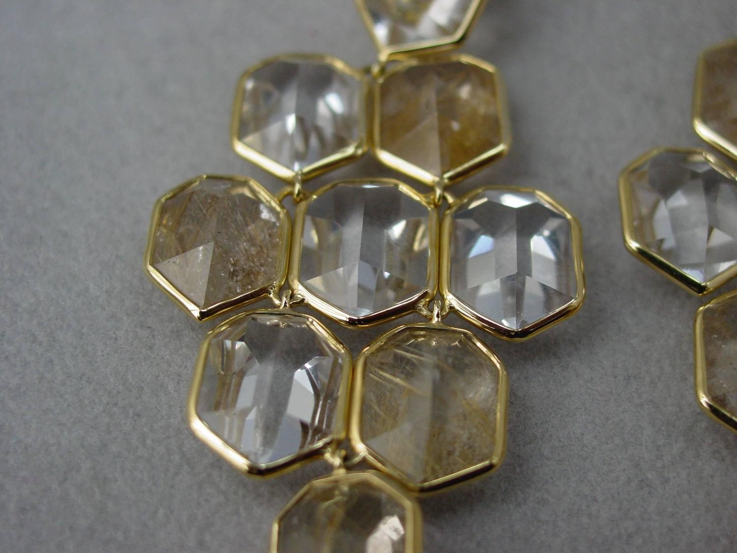Ippolita clear and rutilated quartz gold earrings at 1stdibs for Golden rutilated quartz jewelry