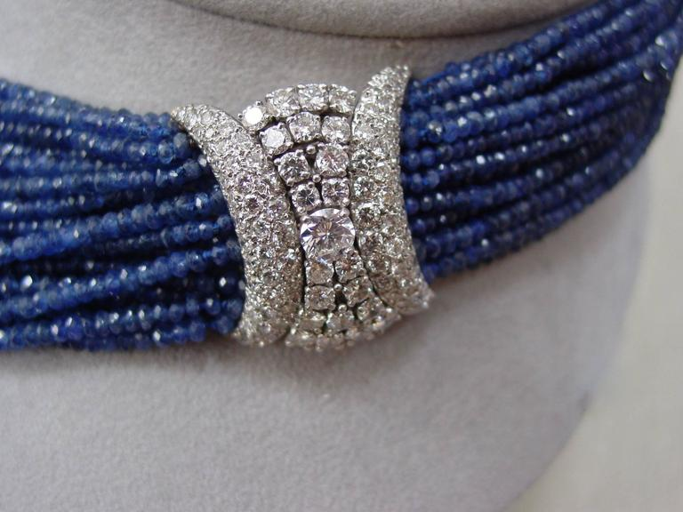 Sapphire Bead and Diamond Necklace 3