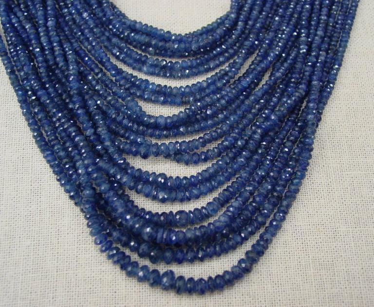 Sapphire Bead and Diamond Necklace 4