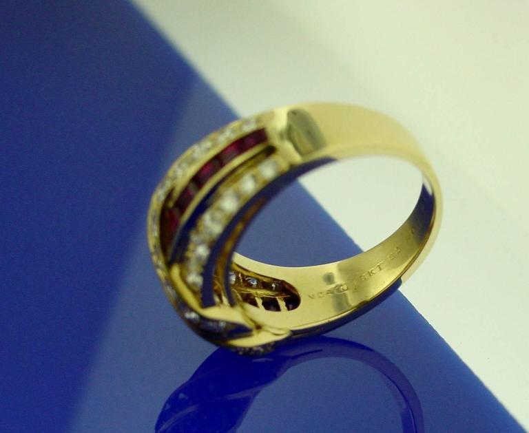 Van Cleef & Arpels Ruby Diamond Gold Ring For Sale 1