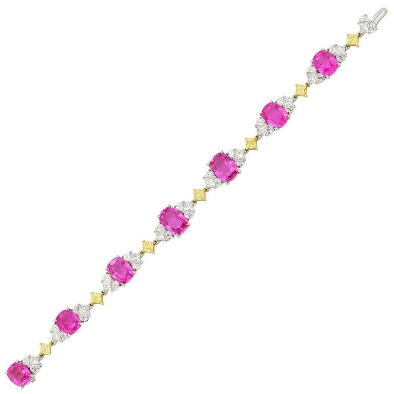 Pink Sapphire Diamond Gold Platinum Bracelet  2