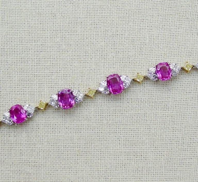 Pink Sapphire Diamond Gold Platinum Bracelet  3