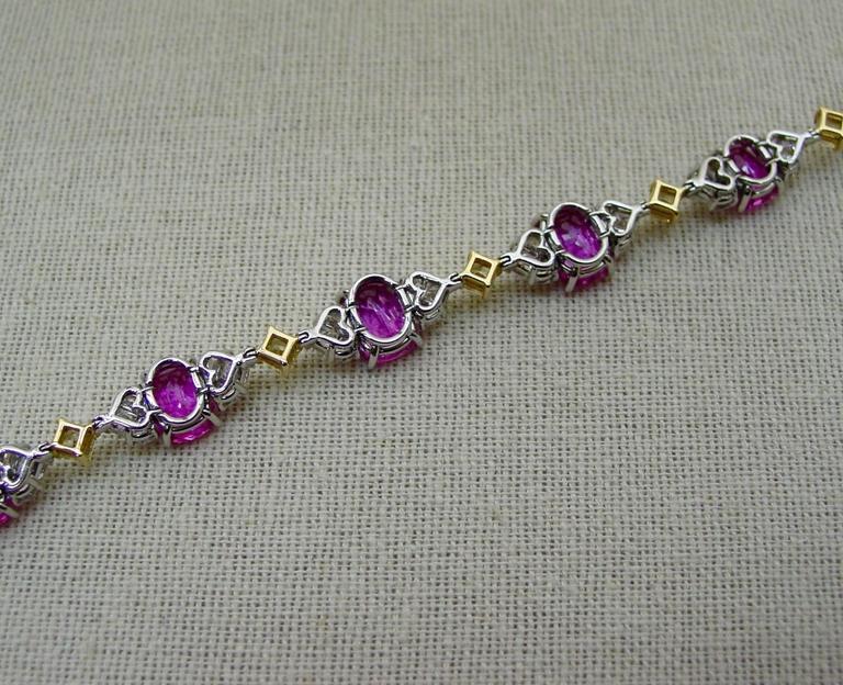Pink Sapphire Diamond Gold Platinum Bracelet  4