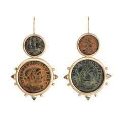 Dubini Constantine Ancient Bronze Coin Citrine Gold Earrings