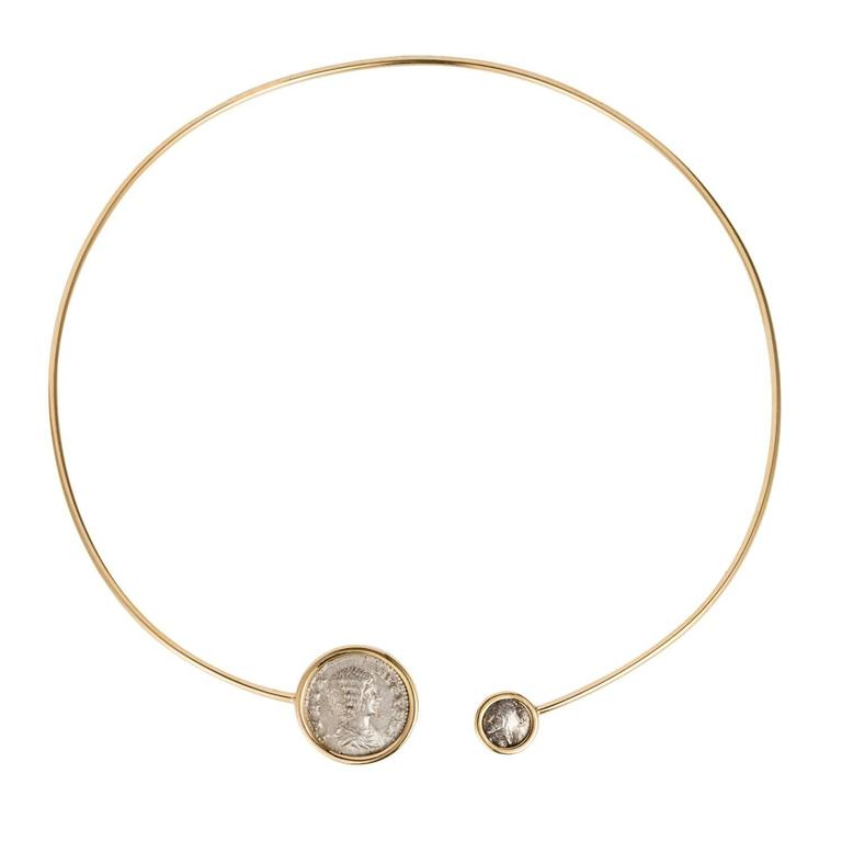 Dubini Empires Ancient Silver Coin Gold Choker Necklace