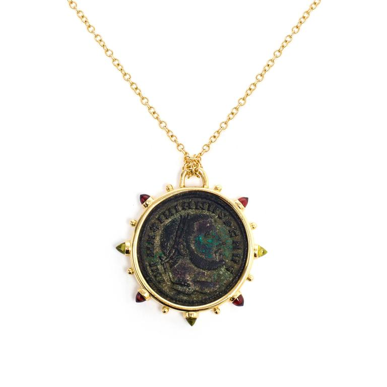 Dubini Empires Ancient Bronze Coin Medallion 18K Yellow Gold Necklace