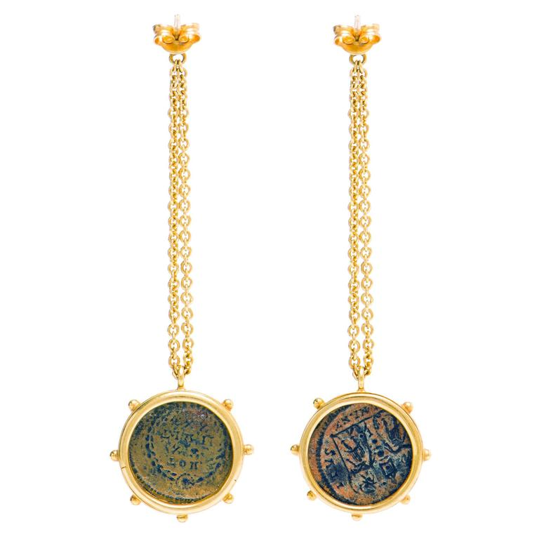 These Dubini Coin Earrings From The Empires Collection Feature Authentic Roman Bronze Coins Set