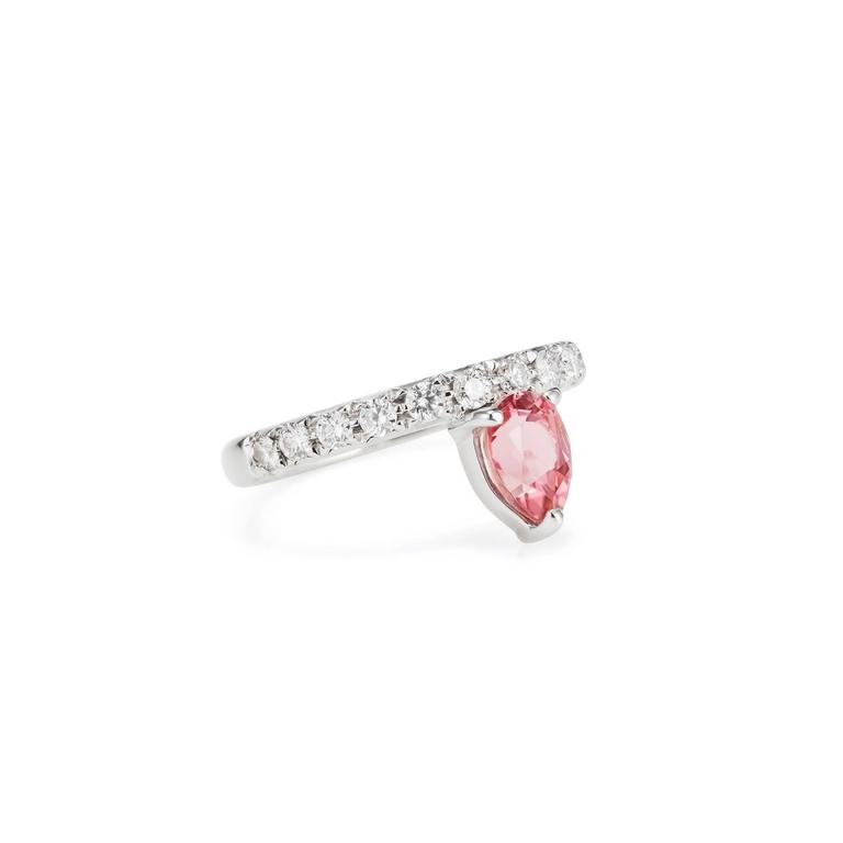 This DUBINI ring from the 'Theodora' collection features an rubellite tourmaline drop with diamonds set in 18K white gold.   Ring size available: 52 (US 6)  The ring may be ordered in any size with a lead time of 3-4