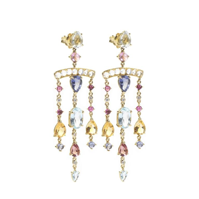 These DUBINI earrings from the 'Theodora' collection feature green amethyst, iolite, aquamarine, citrine, rubellite, moostones and diamonds set in 18K yellow