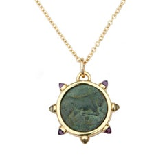Dubini Bull Bronze Coin Pendant Amethyst and Rock Crystal 18K Gold Necklace
