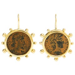 Dubini Constantine Roman Ancient Bronze Coin 18K Yellow Gold Earrings