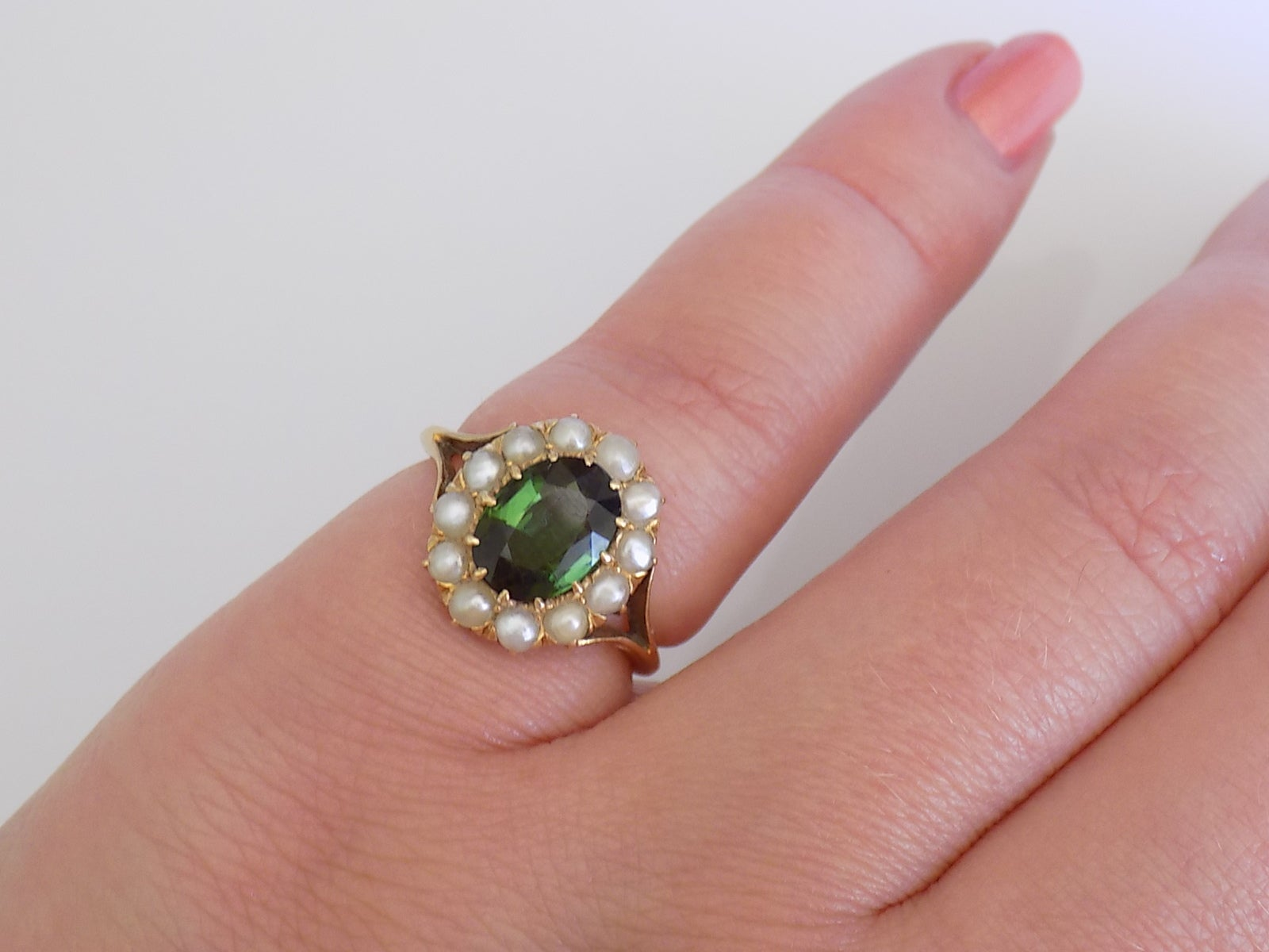 18K Antique Victorian Green Tourmaline Seed Pearl Yellow Gold Ring ...