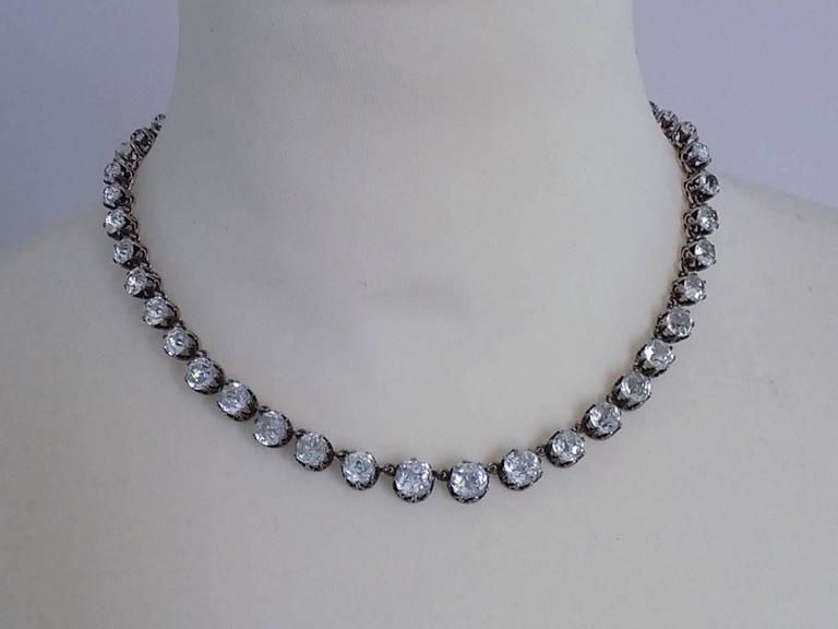 Antique Victorian French Diamond Paste Silver Riviere