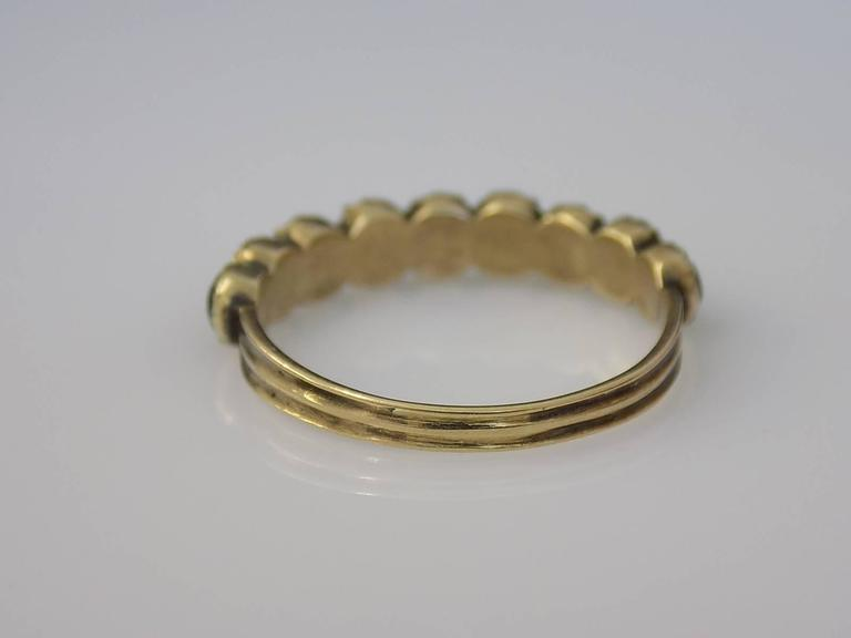 15K Georgian Gold Emerald Paste and Pearl Ring In Good Condition For Sale In Boston, Lincolnshire