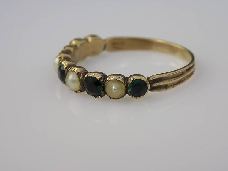 Women's 15K Georgian Gold Emerald Paste and Pearl Ring For Sale